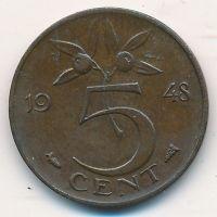 5 центов 1948 год Нидерланды