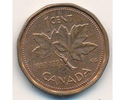 1 цент 1992 год Канада  Юбилейный (1867-1992) 125 лет Конфедерации