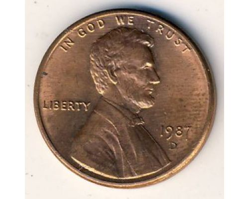 1 цент 1987 D года. США. Америка