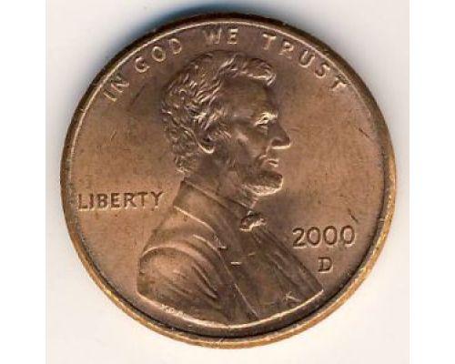 1 цент 2000 D года США Америка