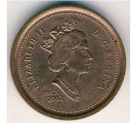 1 цент 2002 год Канада  Юбилейный (1952-2002) 50 лет коронации Елизаветы II
