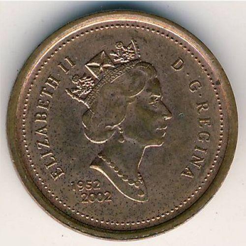 1 цент 2002 год. Канада . Юбилейный. (1952-2002) 50 лет коронации Елизаветы II