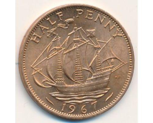 1/2 пенни 1967 год. Великобритания. Пол пенни, half penny