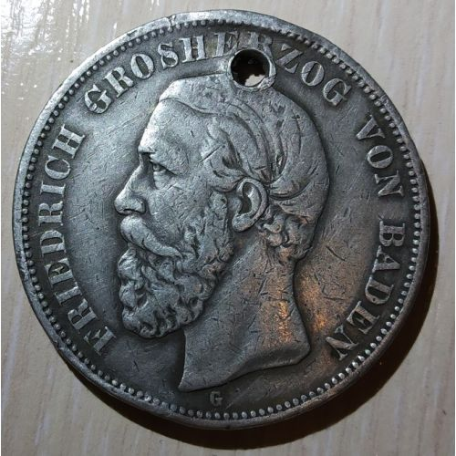 5 марок 1900 год. Баден. Германская Империя. Фридрих I. Серебро