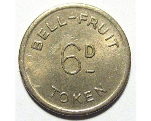 Жетон игральный казино bell fruit token Англия 6d 6 пенсов
