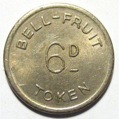 Жетон игральный казино bell fruit token Англия 6d. 6 пенсов