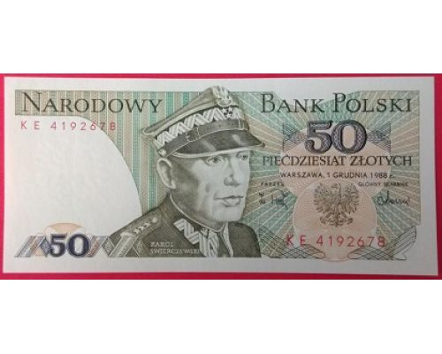 50 злотых 1988 год. Польша. XF