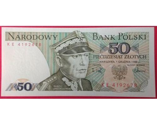 50 злотых 1988 год Польша XF