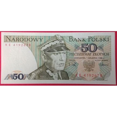 Купюра 50 злотых 1988 год. Польша. XF