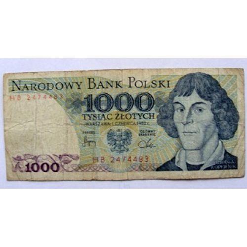 Купюра 1000 злотых 1982 год. Польша