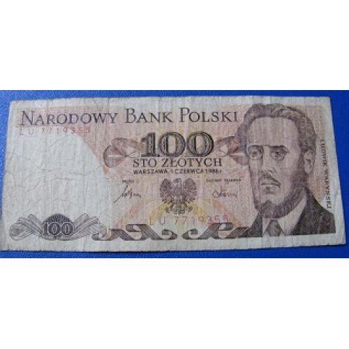 Купюра 100 злотых 1986 год. Польша
