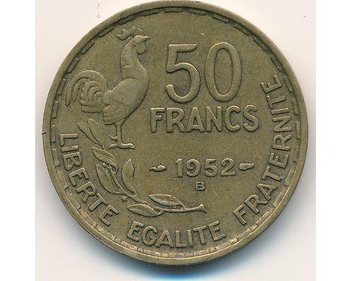 50 франков 1952 год Франция Петух B