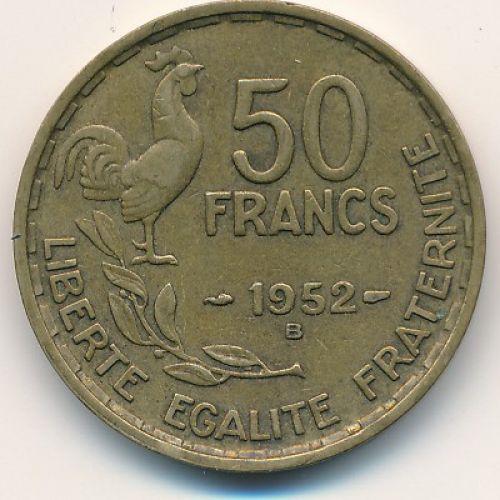 50 франков 1952 год. Франция. Петух B