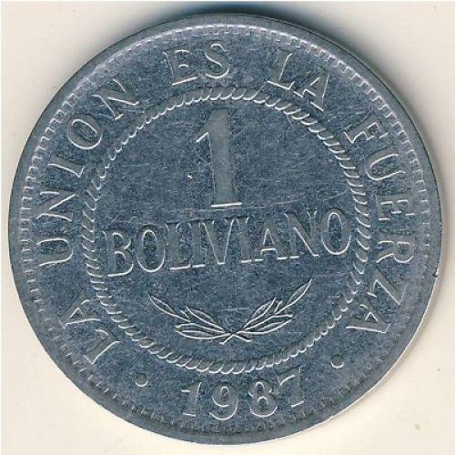 1 боливиано 1987 год Боливия