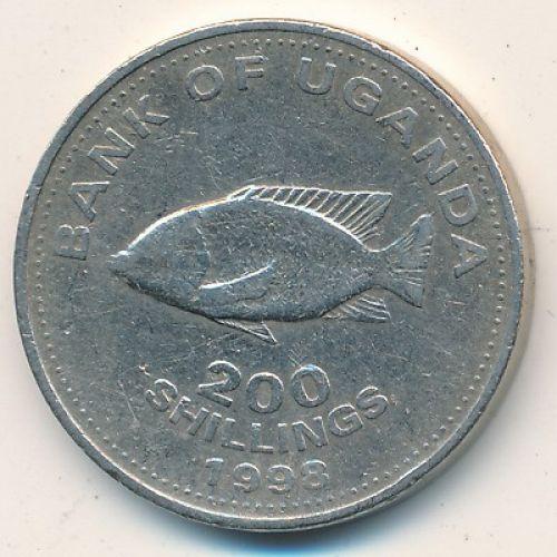 200 шиллингов 1998 год Уганда. Цихлиды