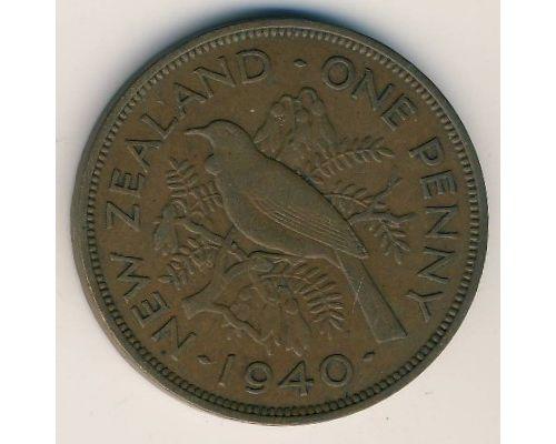 1 пенни 1940 год Новая Зеландия Георг VI