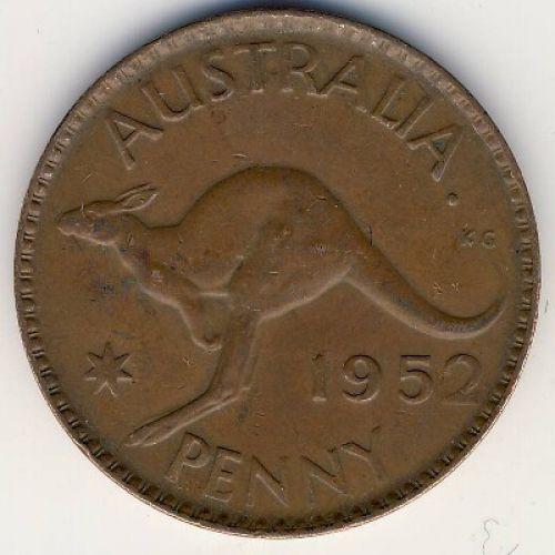 1 пенни 1952 год. Австралия. (m) Мельбурн