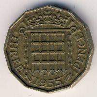 3 пенса 1955 год Великобритания Елизавета II