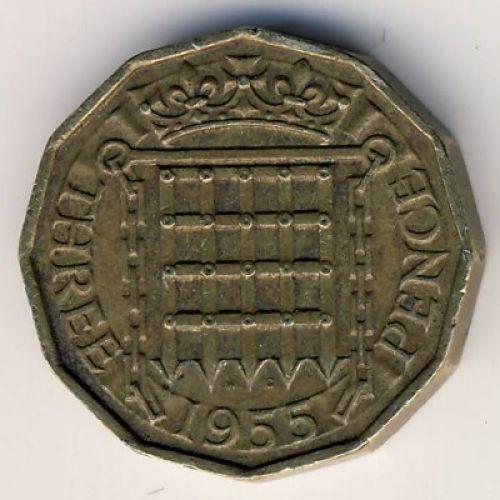 3 пенса 1955 год. Великобритания. Елизавета II
