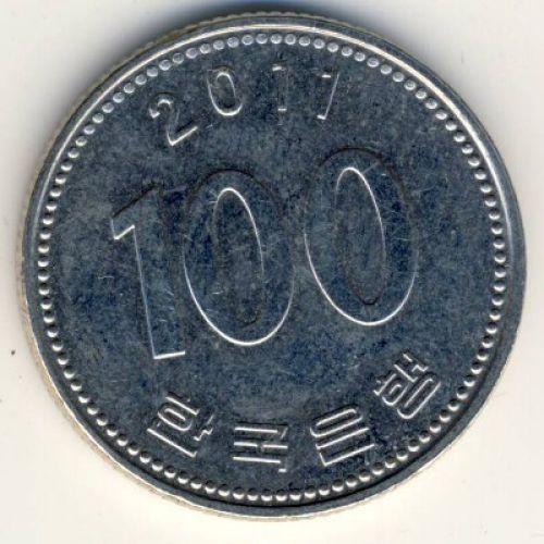 100 вон 2011 год. Южная Корея