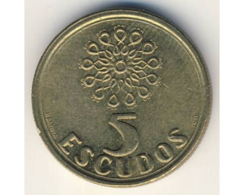 5 эскудо 1987 год Португалия