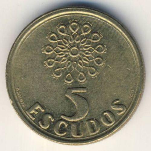 5 эскудо 1987 год. Португалия