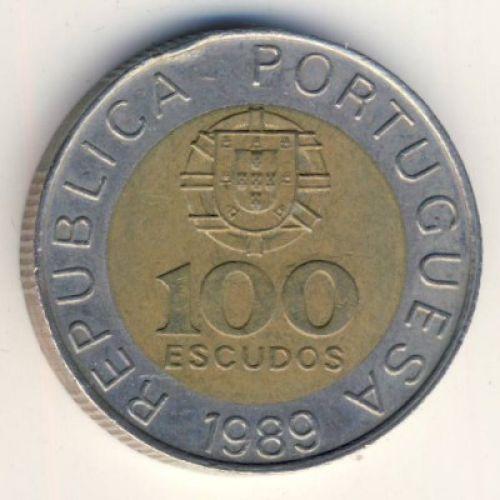 100 эскудо 1989 год. Португалия. Педро Нуниш