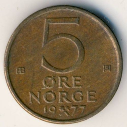 5 эре 1977 год. Норвегия