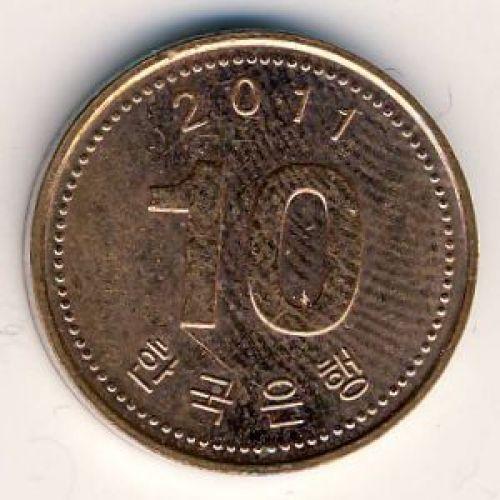 10 вон 2011 год. Южная Корея