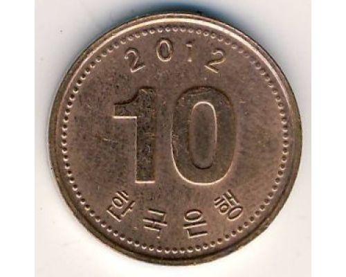 10 вон 2012 год Южная Корея