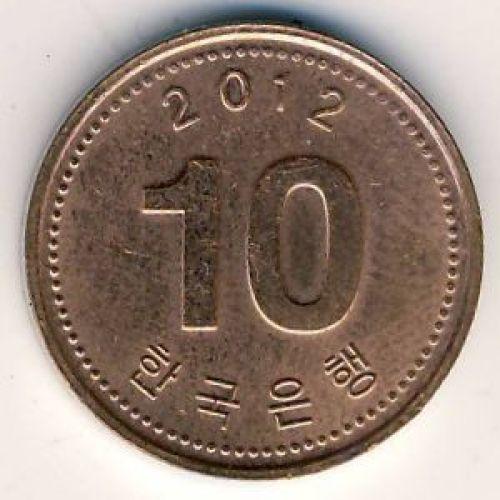 10 вон 2012 год. Южная Корея