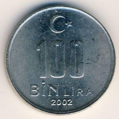 100000 лир 2002 год Турция (100 бин лир)