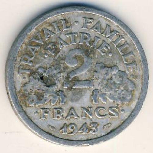 2 франка 1943 год. Франция