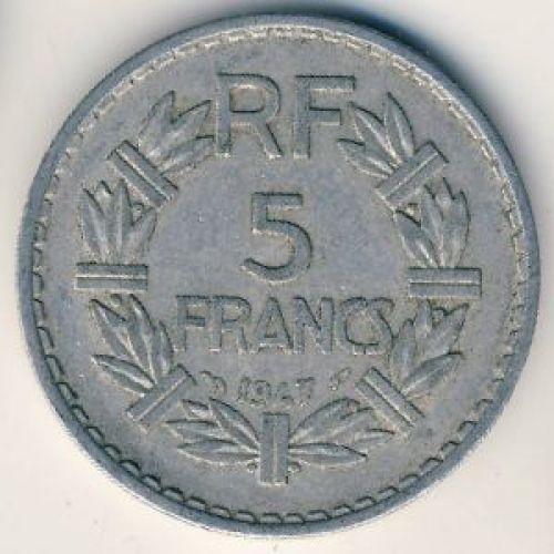 5 франков 1947 год. Франция. Без букв