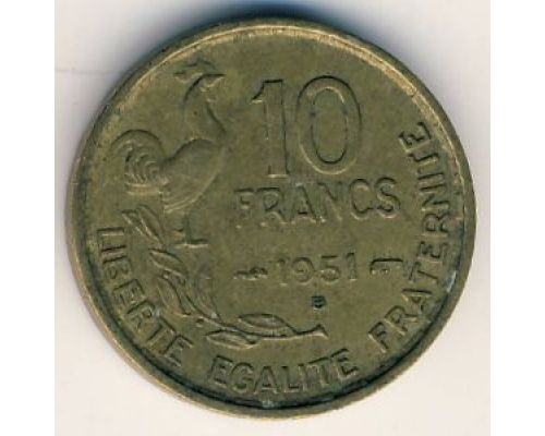 10 франков 1951 год Франция Петух