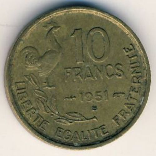 10 франков 1951 год. Франция. Петух