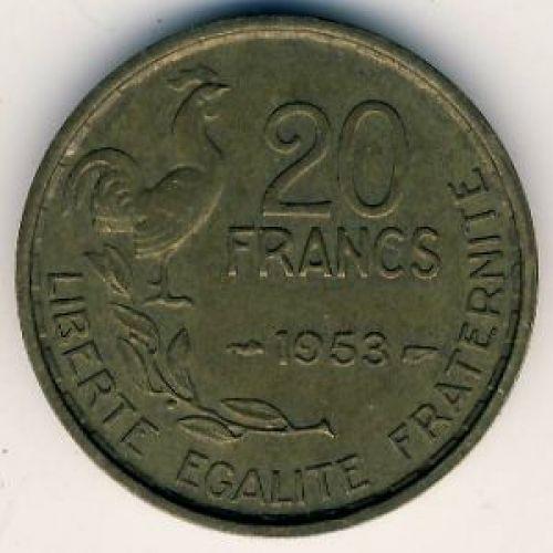 20 франков 1953 год. Франция. Петух