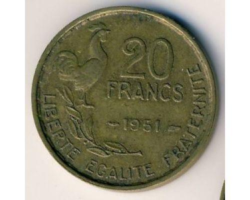 20 франков 1951 год Франция Петух