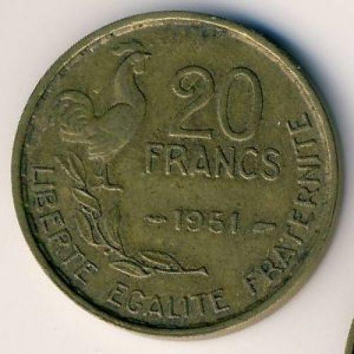 20 франков 1951 год. Франция. Петух