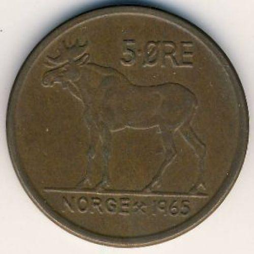 5 эре 1965 год. Норвегия. Лось