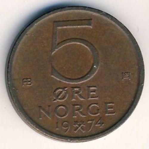 5 эре 1974 год. Норвегия