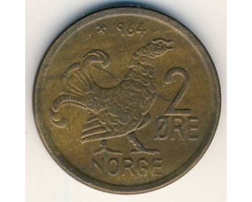 2 эре 1964 год Норвегия Шотландская куропатка