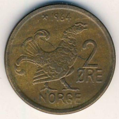 2 эре 1964 год. Норвегия. Шотландская куропатка