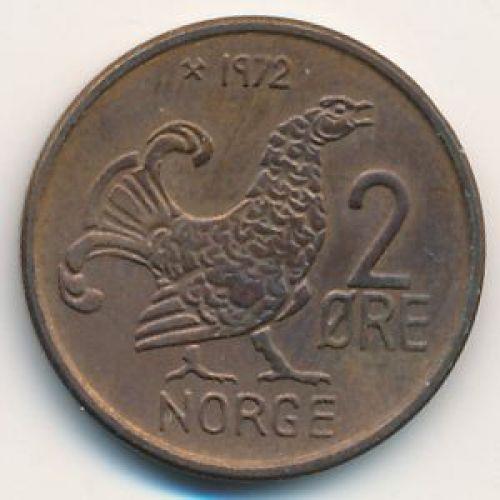 2 эре 1972 год. Норвегия. Шотландская куропатка