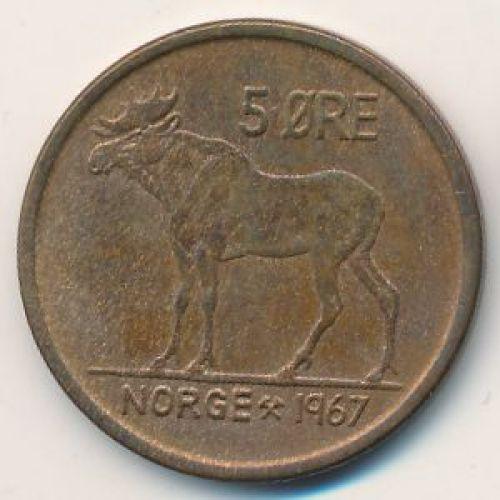 5 эре 1967 год. Норвегия. Лось