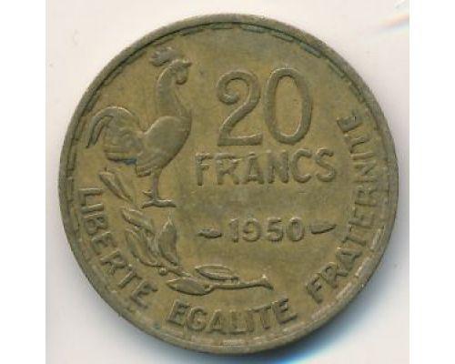 20 франков 1950 год Франция Петух