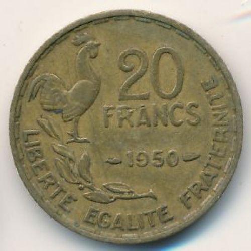 20 франков 1950 год. Франция. Петух