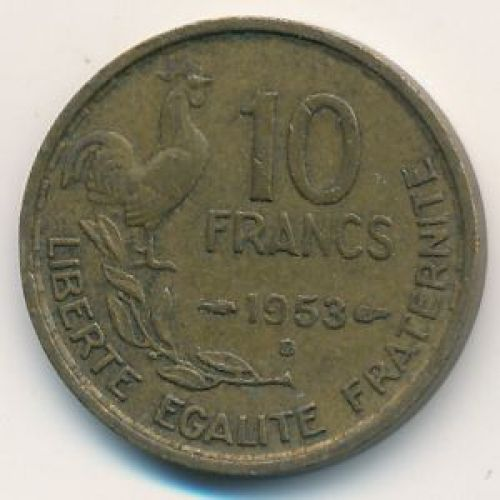 10 франков 1952 год. Франция. Петух