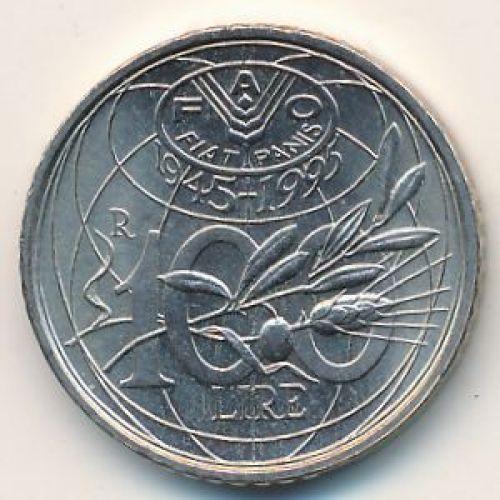 100 лир 1995 год Италия. Юбилейная