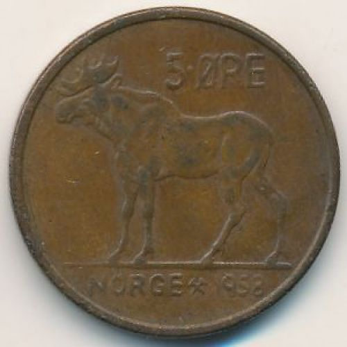 5 эре 1958 год. Норвегия. Лось